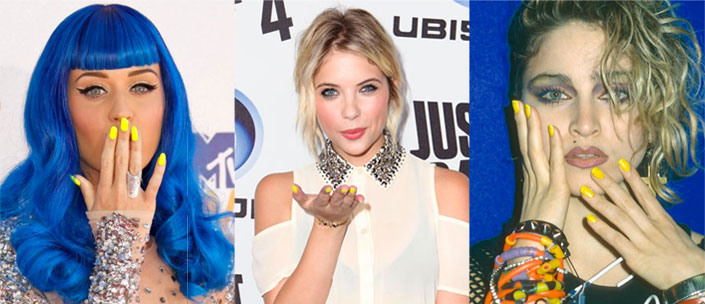 Katy Perry e Ashley Benson con lo smalto giallo